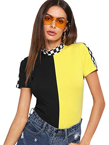 SOLY HUX Womens Short Sleeve Color Block Top Summer Tee Shirt Blouse