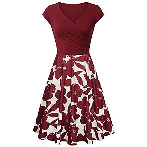 Zainafacai Flare Dress,Women's Deep V Neck Short Sleeve Unique Cross Wrap Casual Flared Midi Dress (L, Wine)