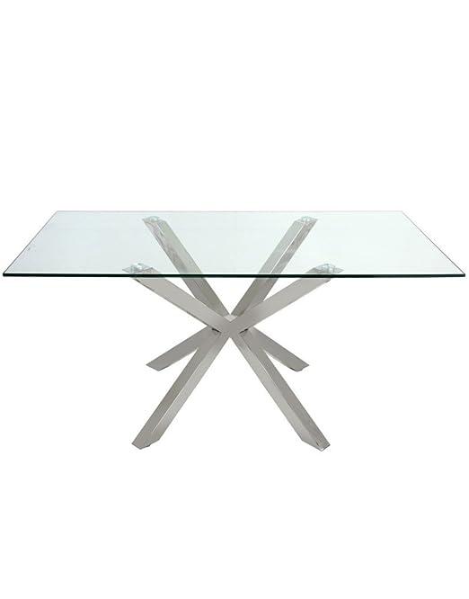 Tavoli In Cristallo E Acciaio.Hogar Y Mas Tavolo Moderno Sala Da Pranzo In Vetro E Acciaio