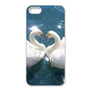 wugdiy Custom Case for iPhone 5,5S with Personalized Design Love White Swan