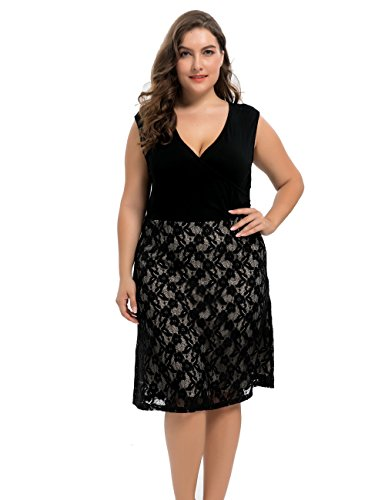 Chicwe Women's Lined Flare Lace Plus Size Dress With Skinny Top Black - Lined Jersey Sleeveless