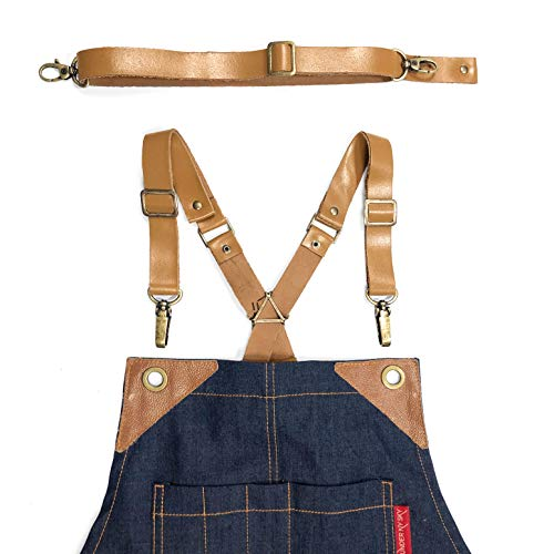 Under NY Sky Full Grain Beige Leather Strap Set for Cross-Back Aprons - Stylish Straps with Metal Hardware for Chef, Barber, Bartender, Barista, Tattoo Artist, Mechanic - Adjustable for Men and Women
