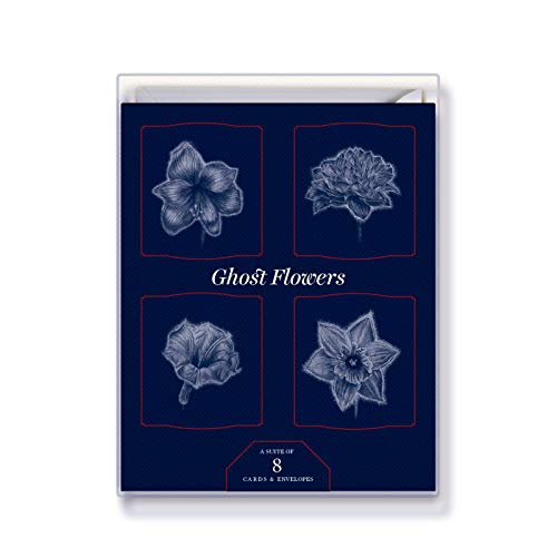Greeting Card Box of 8 Cards - GHOST FLOWERS - Vertical Fold Cards