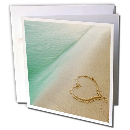 3dRose Heart Shape Symbolizing Love Heart Carved in Sand on the Beach Greeting Cards, Set of 12 (Beach Shapes)