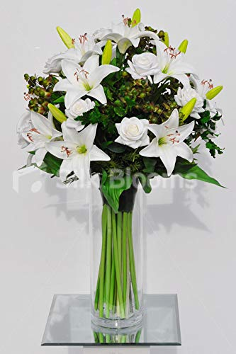 Silk Blooms Ltd Artificial White Rose and Oriental Lily Floral Arrangement w/Green Hypericum Berries and Foliage