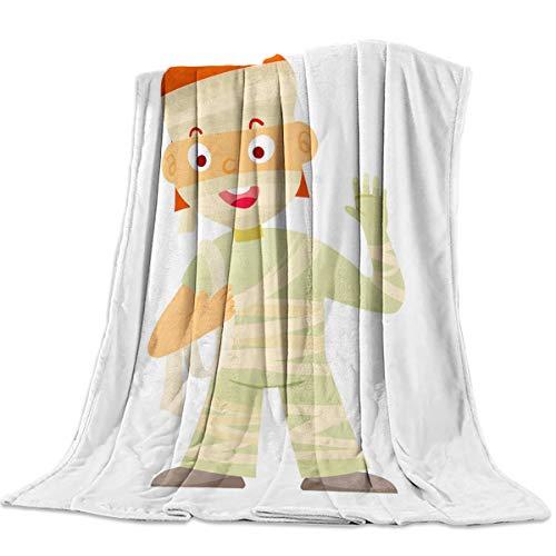 Decorative Throw Blanket for Living Roome/Office/Bedroom Luxury Warm Soft Cozy Flannel Microfiber Lightweight Blanket for All Season Halloween Mummy Boy 39