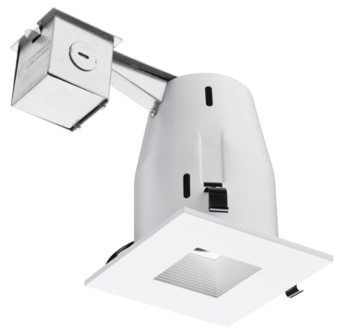 White Power Compact Bulb Square (Lithonia Lighting LK4SQMW M6 Square 4 Inch Kit with Halogen Lamp Included in White)