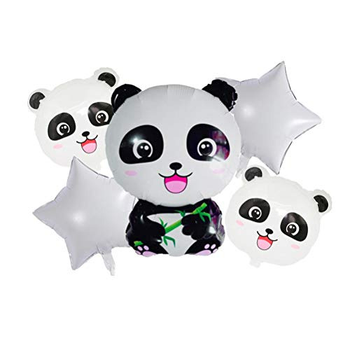 Toyvian Panda Star Aluminium Foil Balloons Cartoon Party