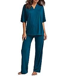 N Natori Congo Knit Pajama Set, S, Saxony Blue