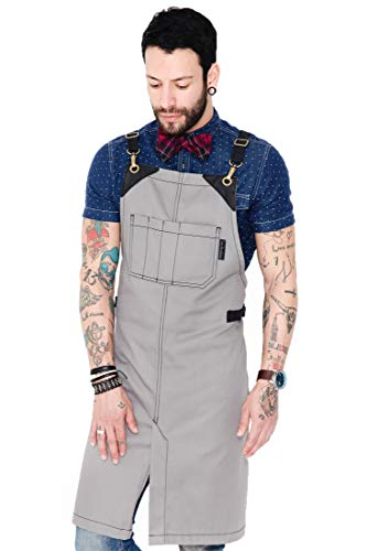 Under NY Sky Barber Moonstone Gray Apron - Cross-Back with Durable Waterproof and Oil Proof Twill, Leather Reinforcement, Split-Leg - Adjustable, Men and Women, Pro Tattoo, Stylist, Bartender Aprons