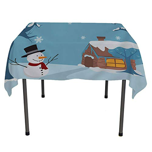 Christmas Snowman Cottage 9 Non Slip Tablecloth Waterproof Table Cloth Square Tablecloth 60 by 60 inch