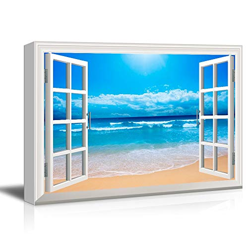 Gogobebe 3D Visual Effect View Through Window Canvas Wall Art - Tropical Seascape with Clear Waves and Fine Sand Beach -Office/Home Livingroom/Bedroom Wall Decor Framed - 16