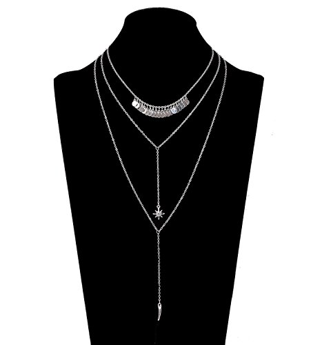 ed Y Necklace Sequins Choker Star and Horn Bar Pendant Drop Multi Layer Necklaces (Silver) ()