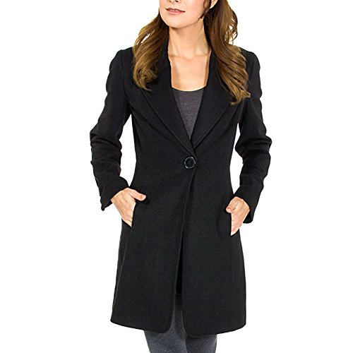 Women's Black Wool Single Button 7/8 Length Overcoat 2XL (Long Dress Coat)