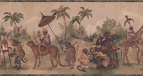 (Wallpaper Border - Jungle Animals Wall Paper Border LH2115B)