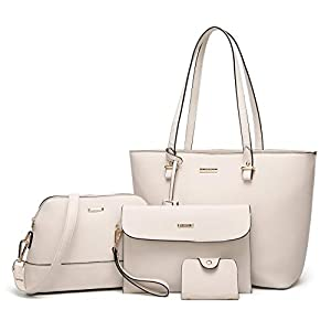 ELIMPAUL Women Fashion Handbags Tote Bag Shoulder Bag Top Handle Satchel Purse Set 4pcs 20
