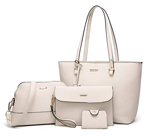 Elimpaul Women Fashion Handbags Tote Bag Shoulder Bag Top Handle Satchel Purse Set 4Pcs, Beige, Medium