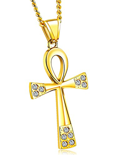 Epinki Fashion Necklace Stainless Steel Necklace for Men Ancient Egypt Cross Gold Chain Length 57+5CM