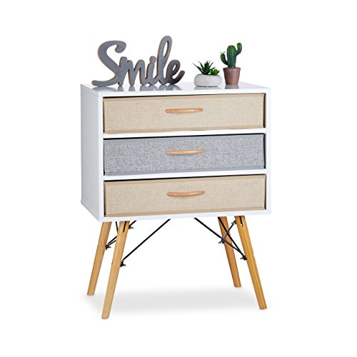- Relaxdays Chest, Side Table, 3 Removable Folding Drawers, Nightstand, Multicolour, HxWxD 74x58x44 c