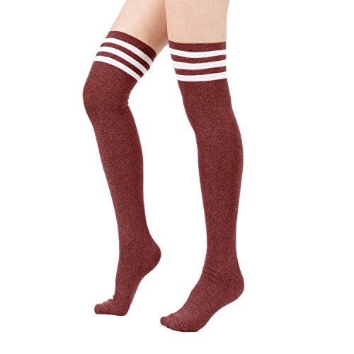 Zando Women's Cotton Athlete Triple Stripe Tights Over The Knee Thigh High Socks Casual Above Knee Socks Burgundy