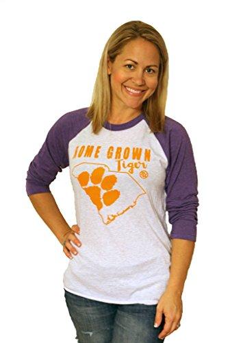 Tough Little Lady NCAA Womens Clemson Shirt with Homegrown Tiger by, Purple/Wh Raglan, LG (Tigers Purple Raglan Youth)