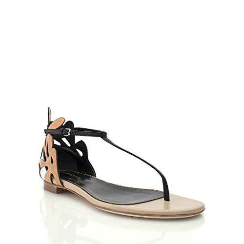 sergio-rossi-black-tan-leather-thong-sandal-size-39
