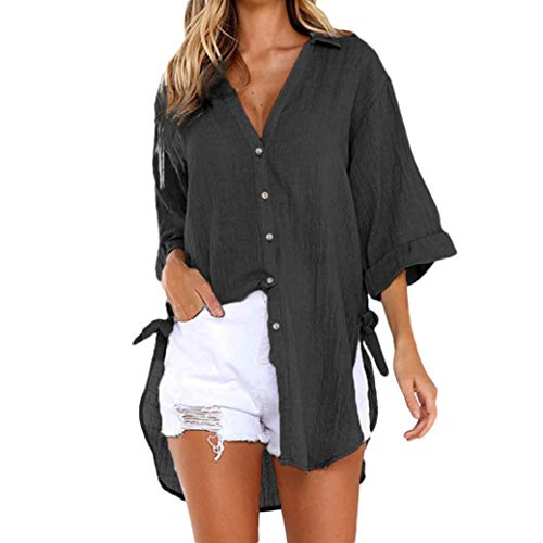 Women Loose Button Long Sleeve Shirt Dress Cotton Linen Blouse Casual Solid Top (3XL, Black)