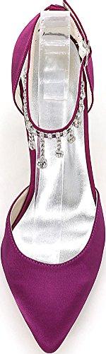 Strap Bridesmaid Rhinestone Pumps Heel Bride Salabobo Ladies Mid 22l 0608 Dress Wedding Toe Satin Purple Party Noble Ankle Pointed wR4x8BYqx