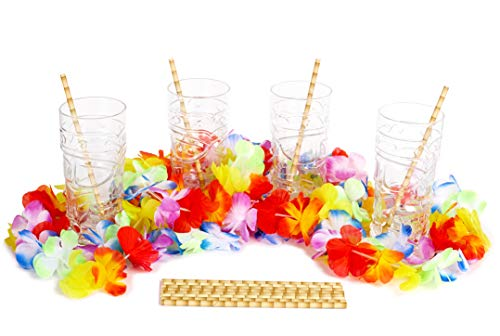 (Tiki Glasses Set - 4 Hawaiian Cocktail Cups with Flower Leis and Bamboo Straws - Hawaii Luau Party Tiki Mugs 17 Oz with Bar Decorations - Glass Drink Tumblers for Mai Tai Pina Colada Tropical Punch)