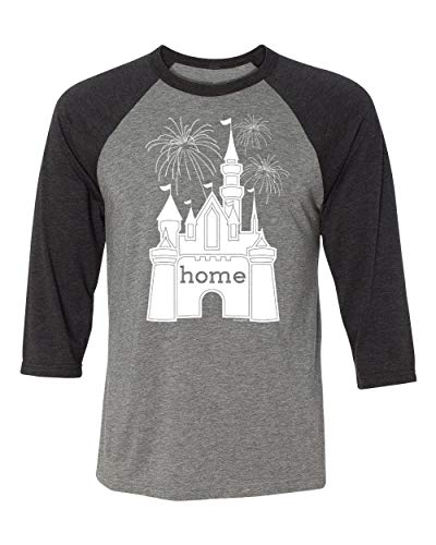 - DisGear Castle is My Home Fireworks Apparel for Women - Theme Park Tee (2X-Large, Unisex Grey/Black Sleeve Raglan)
