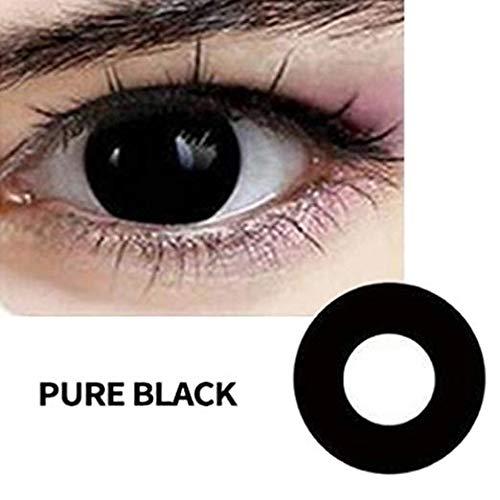Women Multicolor Cute Charm and Attractive Fashion Eye Accessories Cosmetic Makeup Eye Shadow - Black Halloween Carnival with Contact Lens Case By Biuti TM