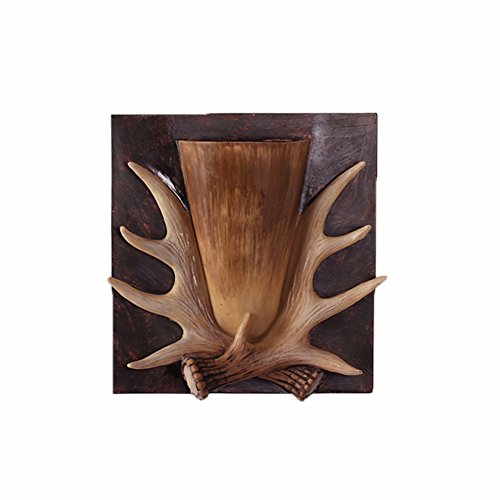 Retro Antlers Deer Wall Hanging Artificial Flower with Wall-Mounted Wooden Plant Flower Pot/Basket Home Shop Wedding Cafe Decoration Wedding Gift (A)