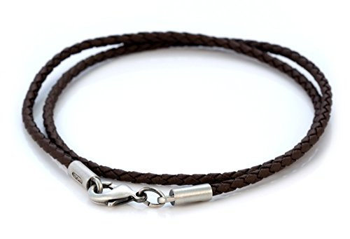 Bico 2mm (0.08 inch) Brown Braided Necklace 20 inch Long (CL12 Brown 20in)