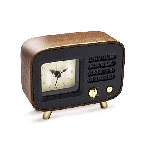 Ferrisland Bluetooth Speaker with Clock, Alarm Clock with Wireless Speaker 4.2 Portable Wireless Bluetooth Speaker Alarm Clock USB Port for Charging, TF AUX Micro SD Card Backup (Vintage Clock Radio With Alarm)