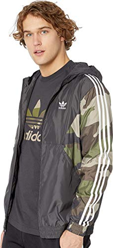 - adidas Originals Men's Camo Windbreaker, Utility Black, X-Large
