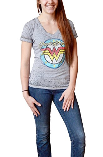 DC Comics Wonder Woman Logo Juniors Grey V-neck T-shirt (Medium) Retro Burnout T-shirt