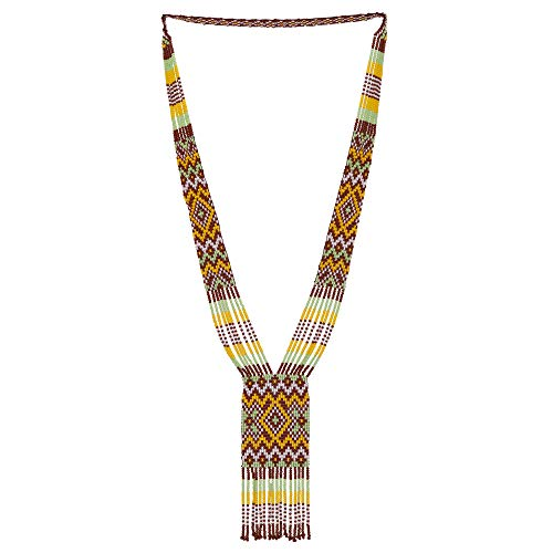 El Allure Native American Style Inspired Brown, White and Yellow Patterned Seed Bead Long Handmade Designer Fashion Costume Seed Beaded Preciosa Necklace for Women. (Brown, White and Yellow)