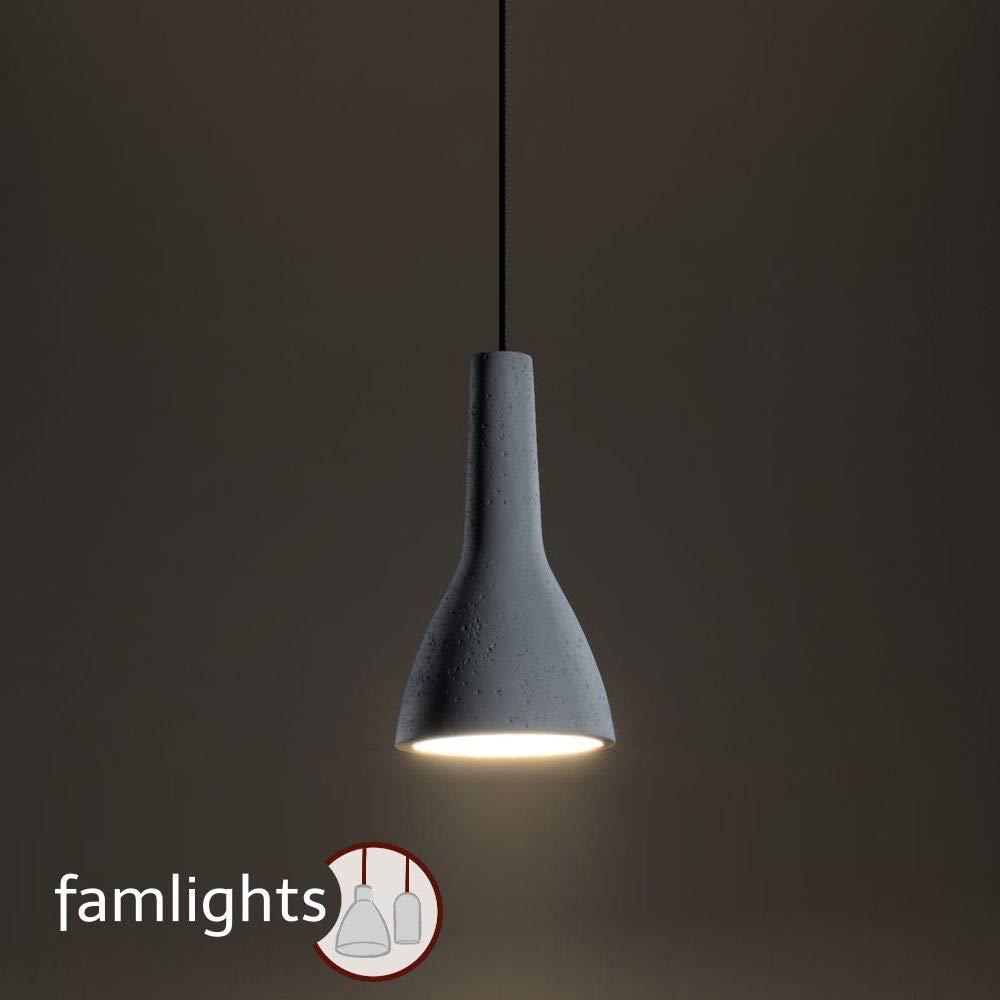famlights Bianca Pendelleuchte aus Beton, Weiß | Industrie-Deckenleuchte modern Wohnzimmer-Lampe Loft modern Schlafzimmer-Leuchte Esszimmer-Lampe Eingangsbereich Flur-Leuchte Design Bar E27-Fassung
