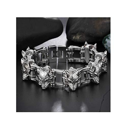 Fashion Titanium Bracelet Stainless Steel Bracelet Wolf Head Men Bicycle Chain,Silver