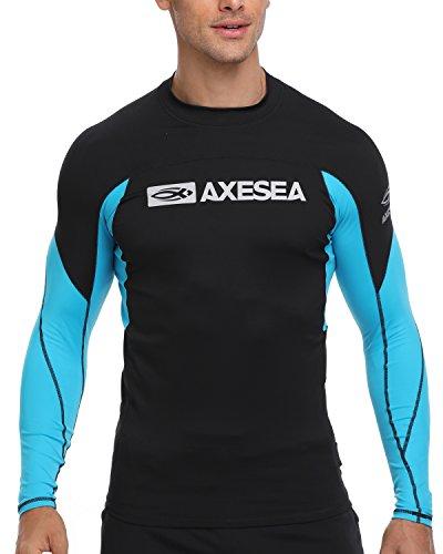 AXESEA Men Long Sleeve Rash Guard UPF 50+ Second Skin Fabric Swim Shirt Black