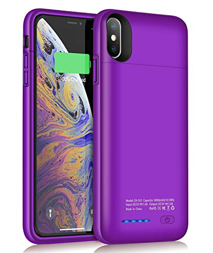 JUBOTY Battery Case for iPhone Xs Max, 5000mAh Slim Protective Portable Charging Case Compatible with iPhone Xs Max Rechargeable Battery Charger Case-Build in Magnet(Purple)