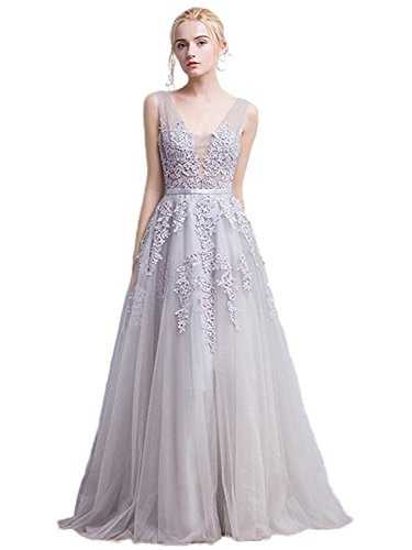 Women's Double V-neck Tulle Appliques Long Evening Cocktail Gowns (Silver,4)