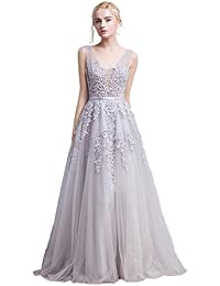 6e5ab32a83 Babyonline Women s Double V-Neck Tulle Appliques Long Evening Cocktail Gowns