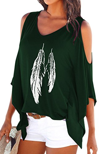 Dellytop Womens Cold Shoulder Tops Loose Fit T Shirt Dolman Sleeve Feather Printed Summer Army ()