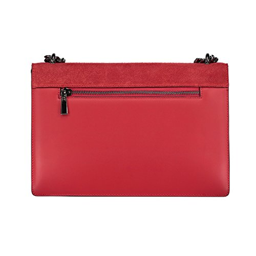 Rosso Scuro Catena myitalianbag Rotonda Con Frizione Italiano Lembo Pelle Di Cintura Nichel Baguette Liscio Borsa Camoscio Iqwz7Yw