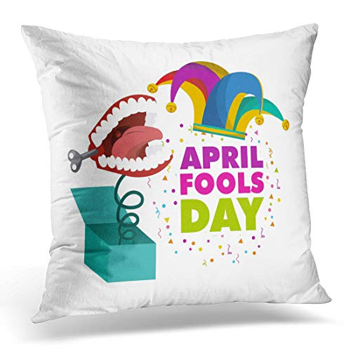Emvency Throw Pillow Cover Carnival April Fools Day Jester Hat Over White Colorful Decorative Pillow Case Home Decor Square 18