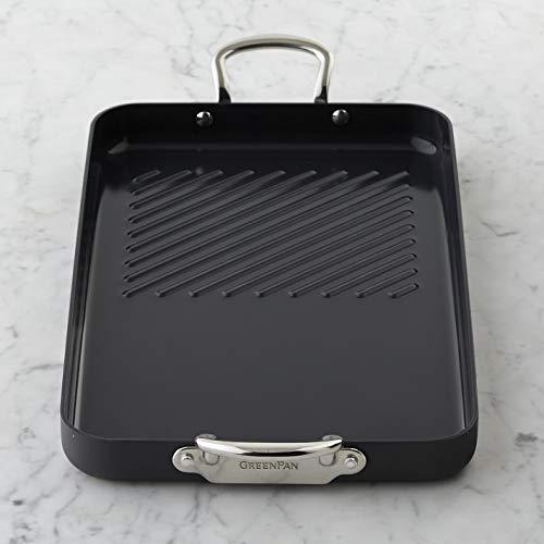 The Original GreenPan Ceramic Non-Stick Double Burner Grill Griddle - Professional Grade Noir Thermolon Edition ()