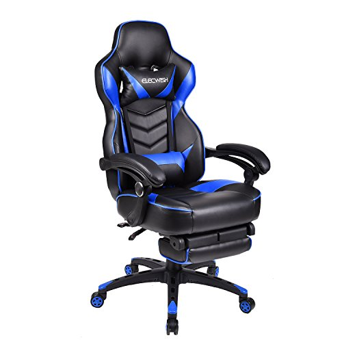 ELECWISH Ergonomic Computer Gaming Chair, PU Leather High Back Office Racing Chairs With Widen Thicken Seat And Retractable Footrest And Lumbar Support, Large, Blue by ELECWISH (Image #1)