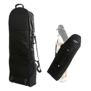 loofeng Golf Travel Cover - Portable Golf Bag Travel Cover Zipper Oxford Golf Case with 2 Wheels, Black