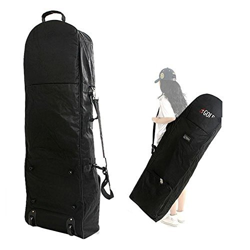 loofeng Golf Travel Cover - Portable Golf Bag Travel Cover Zipper Oxford Golf Case with 2 Wheels, Black by loofeng (Image #1)